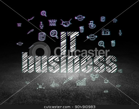 Business concept: IT Business in grunge dark room stock photo, Business concept: Glowing text IT Business,  Hand Drawn Business Icons in grunge dark room with Dirty Floor, black background by mkabakov