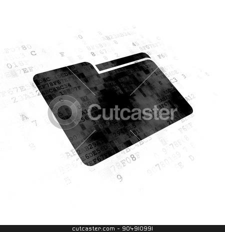 Finance concept: Folder on Digital background stock photo, Finance concept: Pixelated black Folder icon on Digital background by mkabakov
