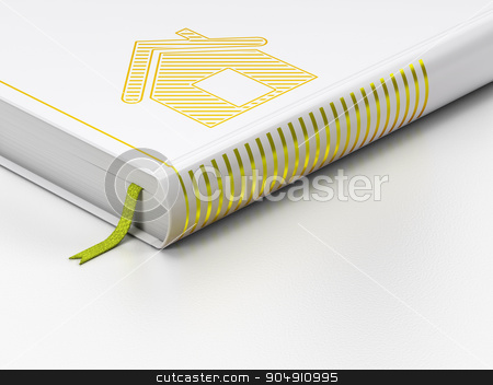 Finance concept: closed book, Home on white background stock photo, Finance concept: closed book with Gold Home icon on floor, white background, 3d render by mkabakov