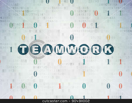 Business concept: Teamwork on Digital Paper background stock photo, Business concept: Painted blue text Teamwork on Digital Paper background with Binary Code by mkabakov