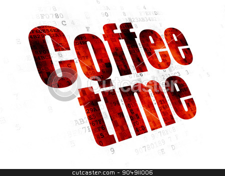 Timeline concept: Coffee Time on Digital background stock photo, Timeline concept: Pixelated red text Coffee Time on Digital background by mkabakov
