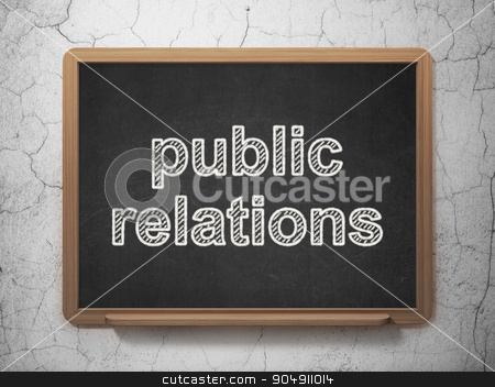 Marketing concept: Public Relations on chalkboard background stock photo, Marketing concept: text Public Relations on Black chalkboard on grunge wall background by mkabakov