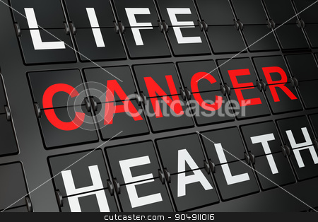 Health concept: Cancer on airport board background stock photo, Health concept: Cancer on airport board background, 3d render  by mkabakov