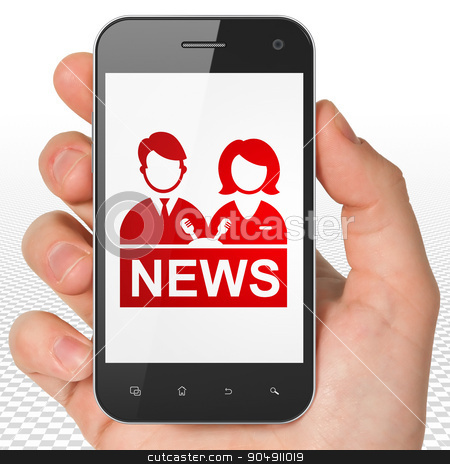 News concept: Hand Holding Smartphone with Anchorman on display stock photo, News concept: Hand Holding Smartphone with red Anchorman icon on display by mkabakov