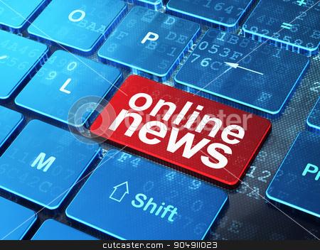 News concept: Online News on computer keyboard background stock photo, News concept: computer keyboard with word Online News on enter button background, 3d render by mkabakov