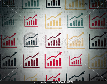News concept: Growth Graph icons on Digital Paper background stock photo, News concept: Painted multicolor Growth Graph icons on Digital Paper background by mkabakov
