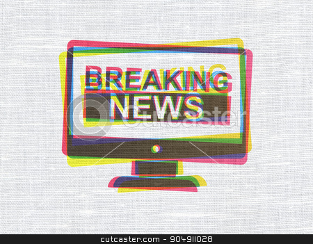 News concept: Breaking News On Screen on fabric texture background stock photo, News concept: CMYK Breaking News On Screen on linen fabric texture background by mkabakov