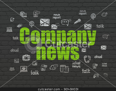 News concept: Company News on wall background stock photo, News concept: Painted green text Company News on Black Brick wall background with  Hand Drawn News Icons by mkabakov