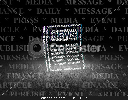 News concept: Newspaper in grunge dark room stock photo, News concept: Glowing Newspaper icon in grunge dark room with Dirty Floor, black background with  Tag Cloud by mkabakov