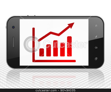 News concept: Smartphone with Growth Graph on display stock photo, News concept: Smartphone with red Growth Graph icon on display by mkabakov