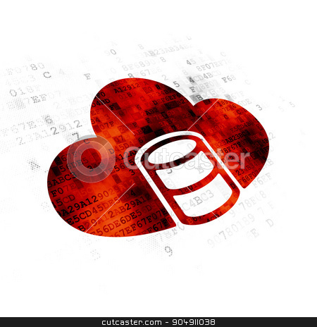 Cloud computing concept: Database With Cloud on Digital background stock photo, Cloud computing concept: Pixelated red Database With Cloud icon on Digital background by mkabakov