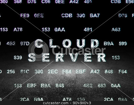Cloud technology concept: Cloud Server in grunge dark room stock photo, Cloud technology concept: Glowing text Cloud Server in grunge dark room with Dirty Floor, black background with Hexadecimal Code by mkabakov