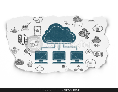 Cloud technology concept: Cloud Network on Torn Paper background stock photo, Cloud technology concept: Painted blue Cloud Network icon on Torn Paper background with  Hand Drawn Cloud Technology Icons by mkabakov