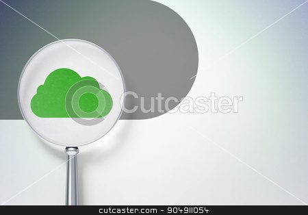 Cloud networking concept:  Cloud with optical glass on digital background stock photo, Cloud networking concept: magnifying optical glass with Cloud icon on digital background, empty copyspace for card, text, advertising by mkabakov