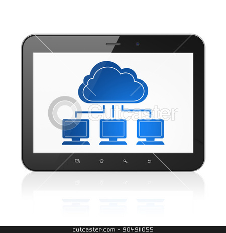 Cloud networking concept: Tablet Computer with Cloud Network on display stock photo, Cloud networking concept: Tablet Computer with  blue Cloud Network icon on display,  Tag Cloud background by mkabakov