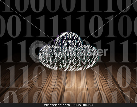 Cloud technology concept: Cloud With Code in grunge dark room stock photo, Cloud technology concept: Glowing Cloud With Code icon in grunge dark room with Wooden Floor, black background with  Binary Code by mkabakov
