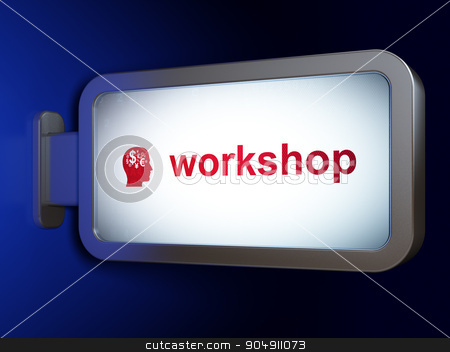 Education concept: Workshop and Head With Finance Symbol on billboard background stock photo, Education concept: Workshop and Head With Finance Symbol on advertising billboard background, 3d render by mkabakov
