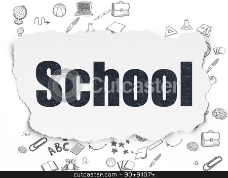 Learning concept: School on Torn Paper background stock photo, Learning concept: Painted black text School on Torn Paper background with Scheme Of Hand Drawn Education Icons by mkabakov