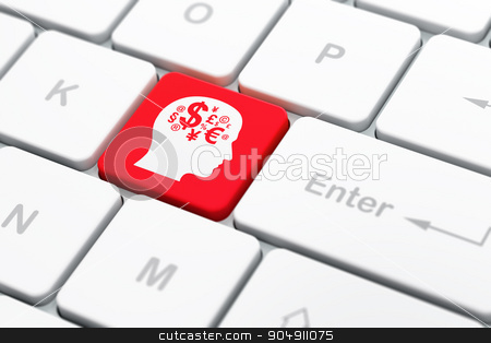 Studying concept: Head With Finance Symbol on computer keyboard background stock photo, Studying concept: computer keyboard with Head With Finance Symbol icon on enter button background, selected focus, 3d render by mkabakov