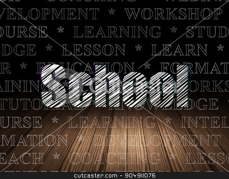 Learning concept: School in grunge dark room stock photo, Learning concept: Glowing text School in grunge dark room with Wooden Floor, black background with  Tag Cloud by mkabakov