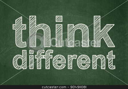 Education concept: Think Different on chalkboard background stock photo, Education concept: text Think Different on Green chalkboard background by mkabakov