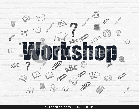 Studying concept: Workshop on wall background stock photo, Studying concept: Painted black text Workshop on White Brick wall background with  Hand Drawn Education Icons by mkabakov