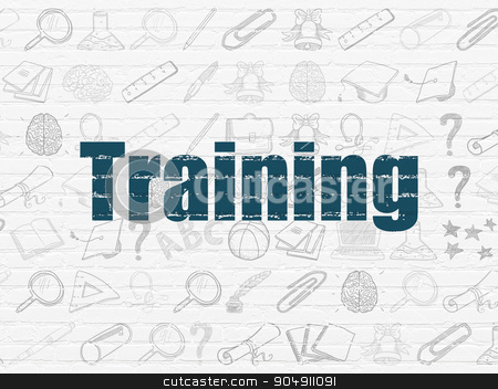 Learning concept: Training on wall background stock photo, Learning concept: Painted blue text Training on White Brick wall background with  Hand Drawn Education Icons by mkabakov