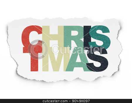 Entertainment, concept: Christmas on Torn Paper background stock photo, Entertainment, concept: Painted multicolor text Christmas on Torn Paper background by mkabakov