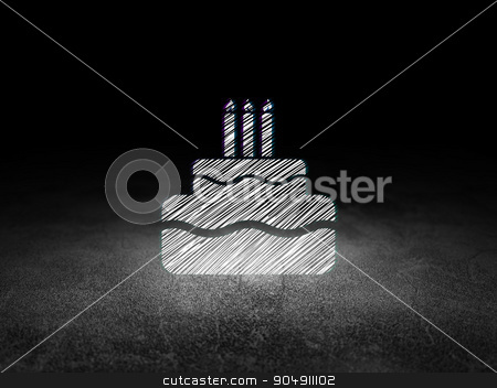 Holiday concept: Cake in grunge dark room stock photo, Holiday concept: Glowing Cake icon in grunge dark room with Dirty Floor, black background by mkabakov