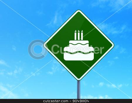 Holiday concept: Cake on road sign background stock photo, Holiday concept: Cake on green road highway sign, clear blue sky background, 3d render by mkabakov
