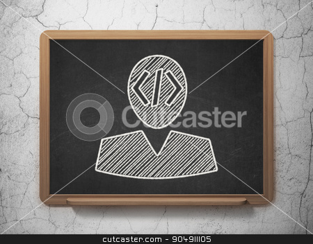 Software concept: Programmer on chalkboard background stock photo, Software concept: Programmer icon on Black chalkboard on grunge wall background by mkabakov