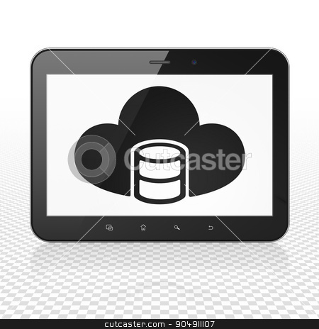 Programming concept: Tablet Computer with Database With Cloud on display stock photo, Programming concept: Tablet Computer with  black Database With Cloud icon on display,  Tag Cloud background by mkabakov