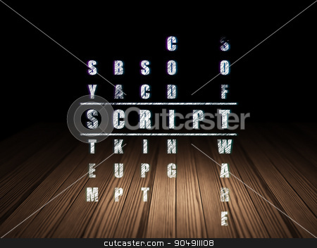 Programming concept: Script in Crossword Puzzle stock photo, Programming concept: Glowing word Script in solving Crossword Puzzle in grunge dark room with Wooden Floor, black background by mkabakov