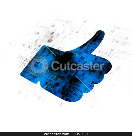 Social network concept: Thumb Up on Digital background stock photo, Social network concept: Pixelated blue Thumb Up icon on Digital background by mkabakov