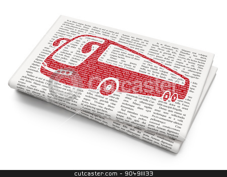 Travel concept: Bus on Newspaper background stock photo, Travel concept: Pixelated red Bus icon on Newspaper background by mkabakov