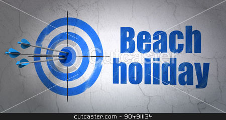 Vacation concept: target and Beach Holiday on wall background stock photo, Success vacation concept: arrows hitting the center of target, Blue Beach Holiday on wall background by mkabakov