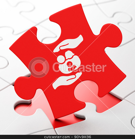 Insurance concept: Family And Palm on puzzle background stock photo, Insurance concept: Family And Palm on Red puzzle pieces background, 3d render by mkabakov