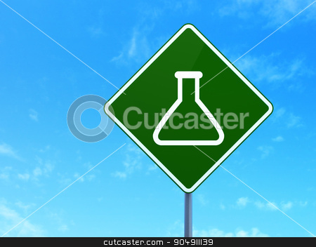 Science concept: Flask on road sign background stock photo, Science concept: Flask on green road highway sign, clear blue sky background, 3d render by mkabakov