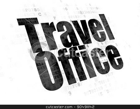 Tourism concept: Travel Office on Digital background stock photo, Tourism concept: Pixelated black text Travel Office on Digital background by mkabakov
