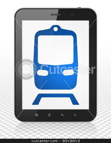 Tourism concept: Tablet Pc Computer with Train on display stock photo, Tourism concept: Tablet Pc Computer with blue Train icon on display by mkabakov