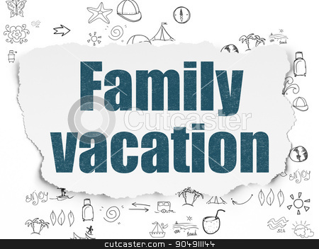 Vacation concept: Family Vacation on Torn Paper background stock photo, Vacation concept: Painted blue text Family Vacation on Torn Paper background with Scheme Of Hand Drawn Vacation Icons by mkabakov