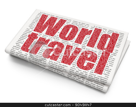Tourism concept: World Travel on Newspaper background stock photo, Tourism concept: Pixelated red text World Travel on Newspaper background by mkabakov