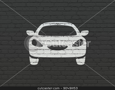 Vacation concept: Car on wall background stock photo, Vacation concept: Painted white Car icon on Black Brick wall background by mkabakov