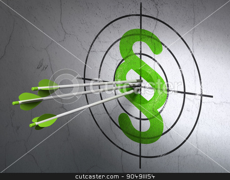 Law concept: arrows in Paragraph target on wall background stock photo, Success law concept: arrows hitting the center of Green Paragraph target on wall background by mkabakov
