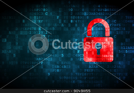 Information concept: Closed Padlock on digital background stock photo, Information concept: pixelated Closed Padlock icon on digital background, empty copyspace for card, text, advertising by mkabakov