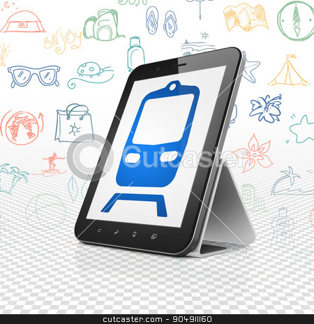 Travel concept: Tablet Computer with Train on display stock photo, Travel concept: Tablet Computer with  blue Train icon on display,  Hand Drawn Vacation Icons background by mkabakov