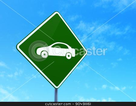 Travel concept: Car on road sign background stock photo, Travel concept: Car on green road highway sign, clear blue sky background, 3d render by mkabakov