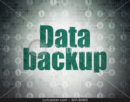 Data concept: Data Backup on Digital Paper background stock photo, Data concept: Painted green text Data Backup on Digital Paper background with  Scheme Of Binary Code by mkabakov