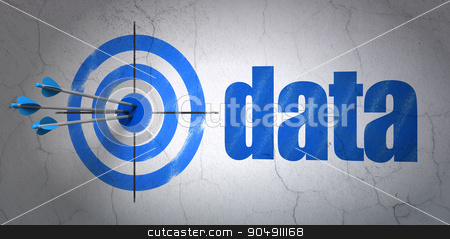 Information concept: target and Data on wall background stock photo, Success Information concept: arrows hitting the center of target, Blue Data on wall background by mkabakov
