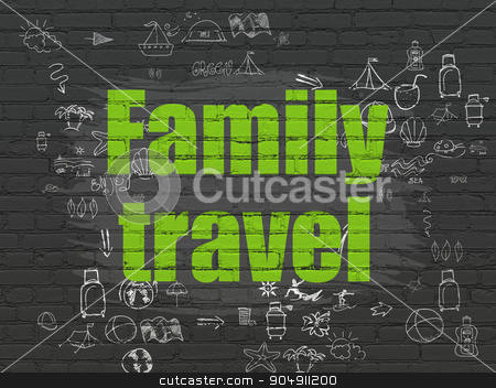 Travel concept: Family Travel on wall background stock photo, Travel concept: Painted green text Family Travel on Black Brick wall background with Scheme Of Hand Drawn Vacation Icons by mkabakov